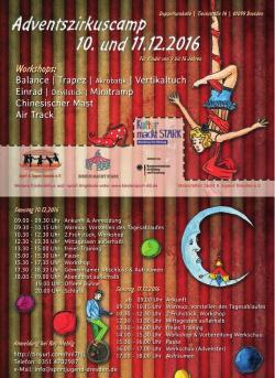 Flyer zum Adventszirkuscamp 10. und 11. Dezember 2016